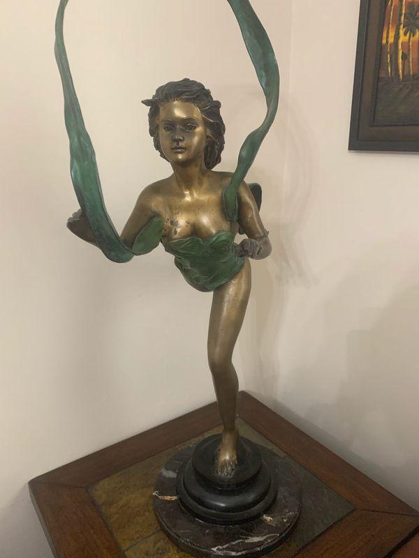 Bronze and marble ballerina statue