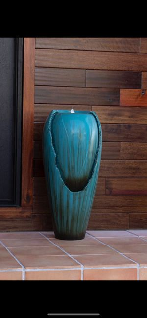 Teal jar fountain with light for Sale in Commerce, CA