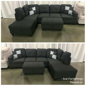 Brand New Charcoal Grey Linen Sectional With Storage Ottoman for Sale in Puyallup, WA