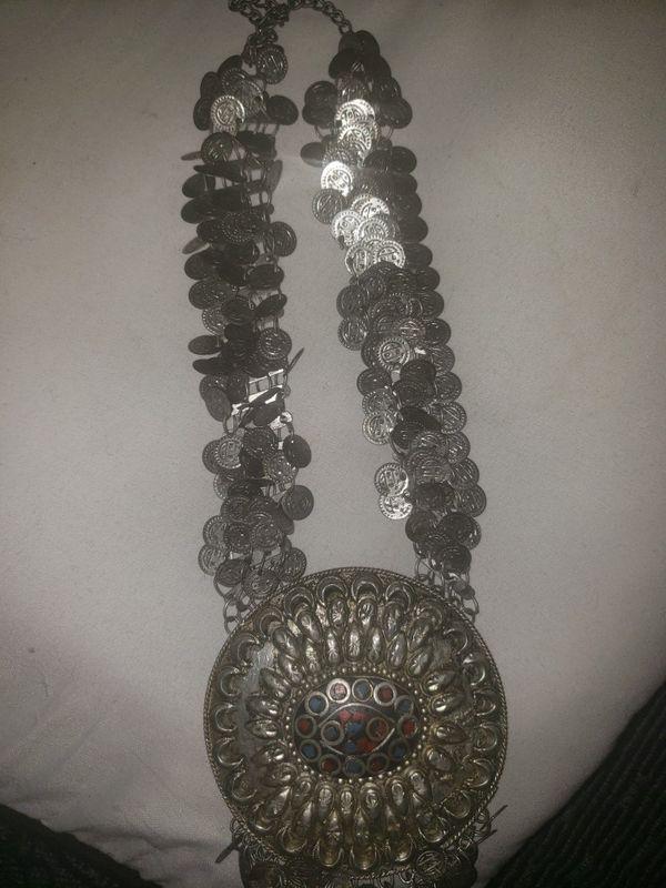 Antique flag pole, coins, indian necklace , Asian necklace
