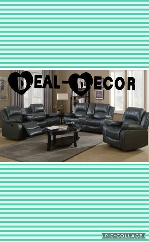 Gray leather 3 piece sofa set for Sale in Kennesaw, GA