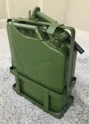 New 5 Gallon 20 Liter Fuel Steel Tank Jerry Gas Can Container Military Green with Holder Brackets for Sale in Pico Rivera, CA