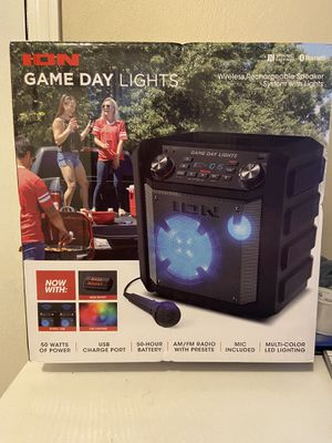 ION Audio Game Day Lights Portable Bluetooth Speaker with Microphone - Black for Sale in Lorain, OH