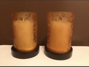 (2) Glass Candle Holders w/Wood Base for Sale in Laurel, MD