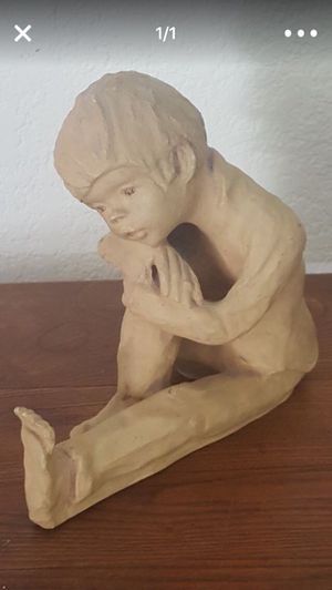 'Little Boy Sitting Down Thinking ' Statue 8x7 Heavy for Sale in Richmond, CA
