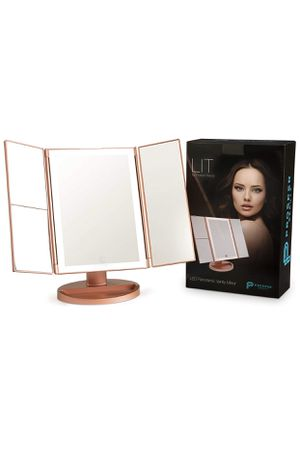 Lighted Makeup Mirror Vanity [LIT by 36 LED Lights Bright Natural Beauty Cosmetic Travel Trifold 1x/2x/3x Magnification USB Charging 180 Degree Adjus for Sale in Montclair, CA
