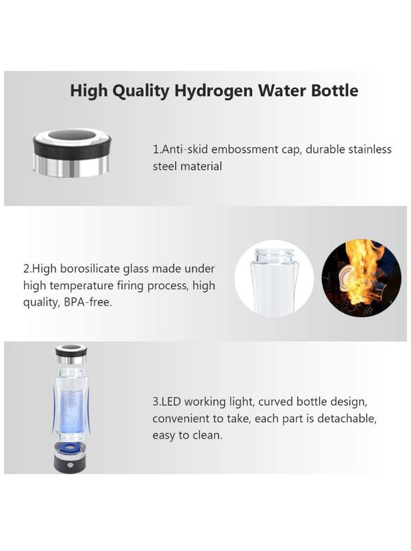Hydrogen Alkaline Water Bottle Portable Hydrogen Water Generator Ionizer with SPE and PEM Technology Glass Cup Health Cup, Black, Medium