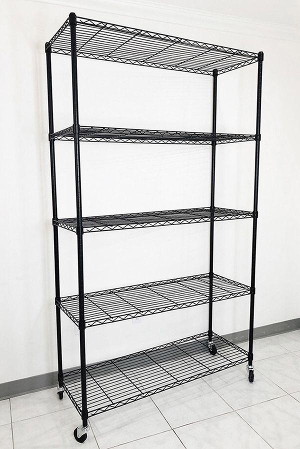 """Brand new $90 Metal 5-Shelf Shelving Storage Unit Wire Organizer Rack Adjustable w/ Wheel Casters 48x18x82"""""""