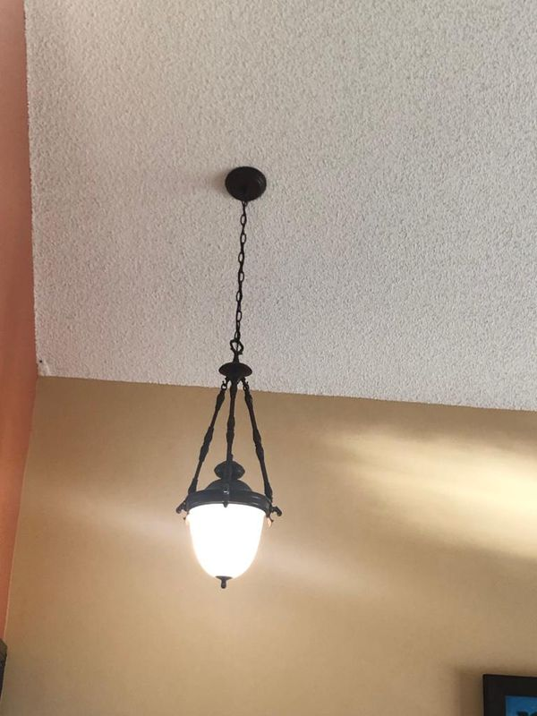 Dining chandelier with matching entrance pendant
