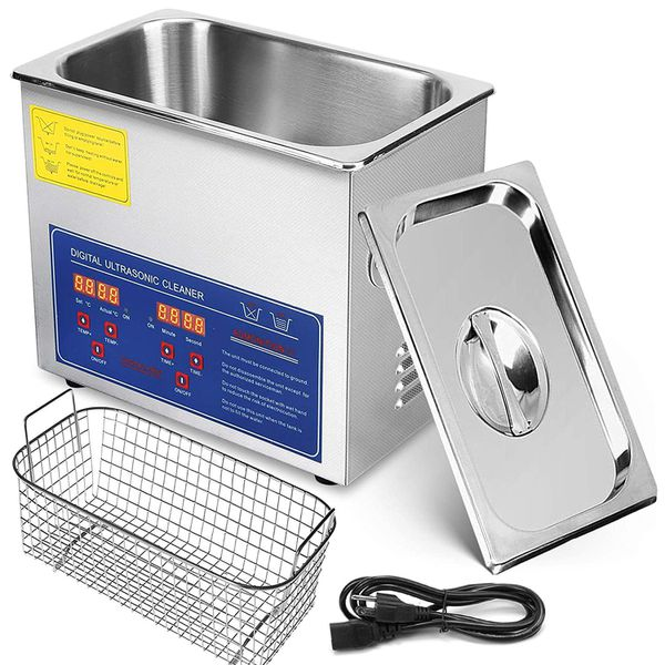 VEVOR Commercial Ultrasonic Cleaner 3L Heated Ultrasonic Cleaner with Digital Timer Stainless Steel