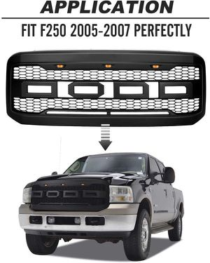 Ford F250/F350 2005 2006 2007 Raptor Style Grille Replacement With F & R Letters , Lights and Harness for Sale in Fullerton, CA