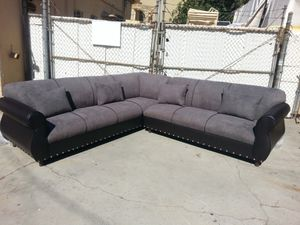 NEW CHARCOAL MICROFIBER SECTIONAL COUCHES for Sale in Las Vegas, NV