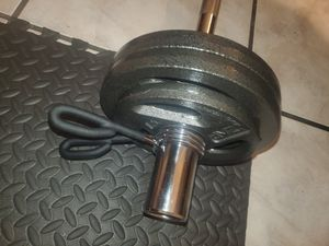 Fitness Gear olympic curl bar w/ 50 lbs brand new for Sale in Miami, FL