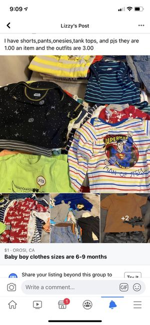 Sizes are 6-9 months baby boy clothes for Sale in Orosi, CA