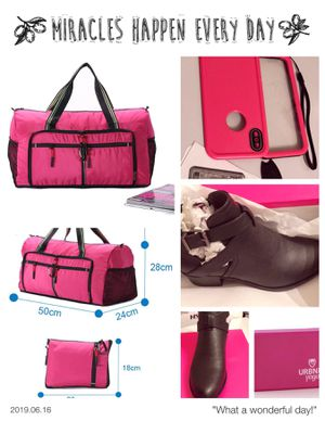 PINK/duffle bag/gym bag,iphone case x/10,yoga block,and pair of women's leather ankle booths(size-6 for Sale in Houston, TX