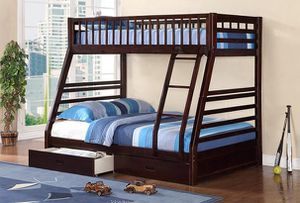 **FIRM PRICE** Brand New Espresso Twin/Full wood bunk bed with 2 drawers for Sale in Phoenix, AZ
