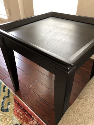 2 dark brown end tables + 2 wooden stools for Sale in Humble, TX