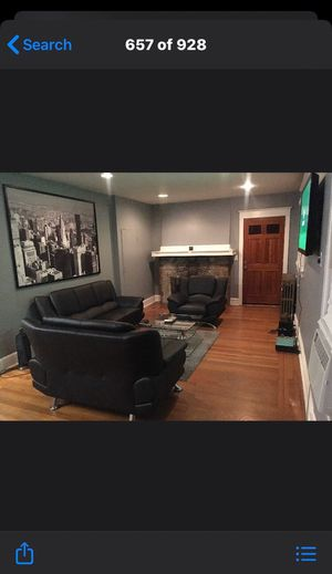 Black Leather living room set for Sale in Drexel Hill, PA