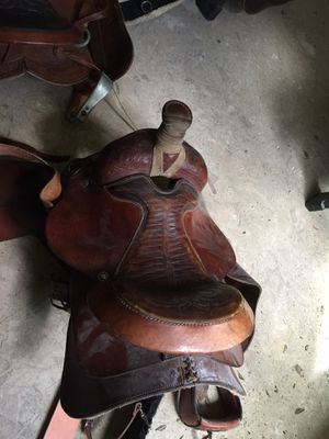 3 saddles with tack.$300 each for the rope saddles $ 150 small saddle for Sale in Colorado Springs, CO