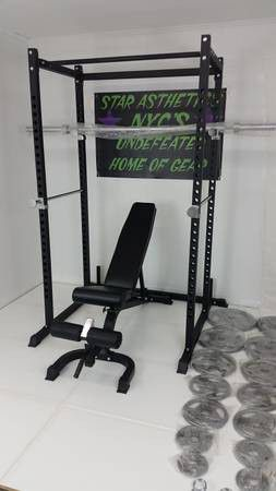 NEW POWER RACK SQUAT CAGE BENCH OLYMPIC WEIGHTS BAR AND ACCESSORIES for Sale in Queens, NY