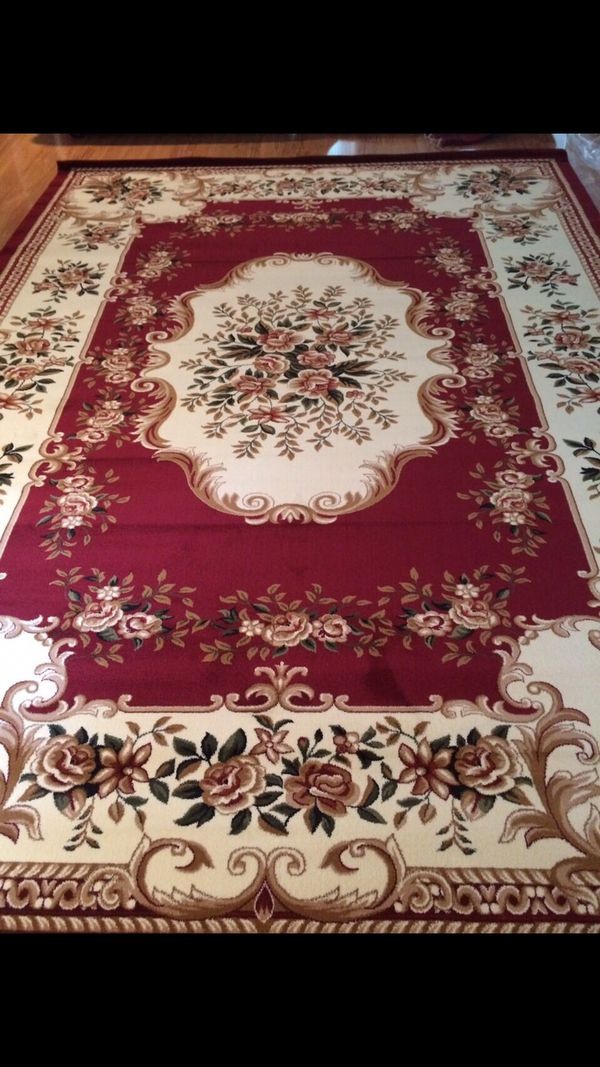 New floral rug size 8x11 nice red carpet Persian style rugs