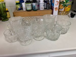 Antique glasses and cups with creamer and sugar served for Sale in Hialeah, FL