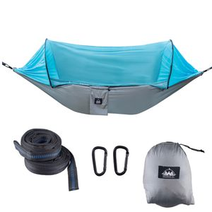 Camping Hammock with Mosquito Net & Tree Straps Lightweight Parachute Fabric Travel Bed for Hiking, Backpacking, Backyard - Blue and Gray for Sale in Miami, FL