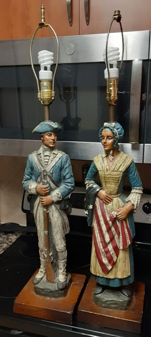 Vintage Pair Of Dunning Carved Resin Table Lamps- Soldier & Betsy Ross for Sale in Arlington, VA