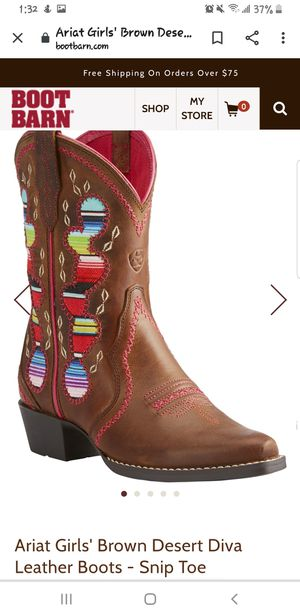 Ariat girl boots size 10c for Sale in Stockton, CA