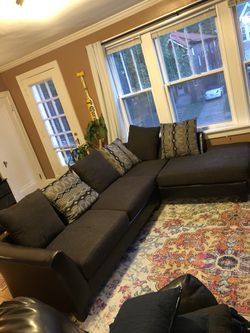 L shaped couch (leather + cushions) for Sale in Clayton,  MO