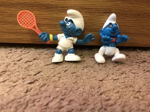 1979 Vintage Smurf Tennis Racket PVC Schleich & 1996 MFS Brussels Figures/Toys/Collectibles for Sale in Tinley Park, IL