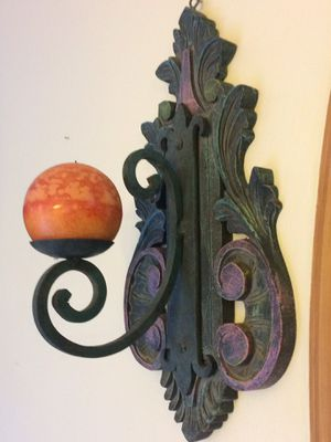 Crafted wood and iron rustic candle holder for Sale in Doral, FL