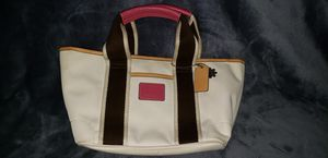 Small Coach Purse Beige with tan, brown and pink accents for Sale in Houston, TX