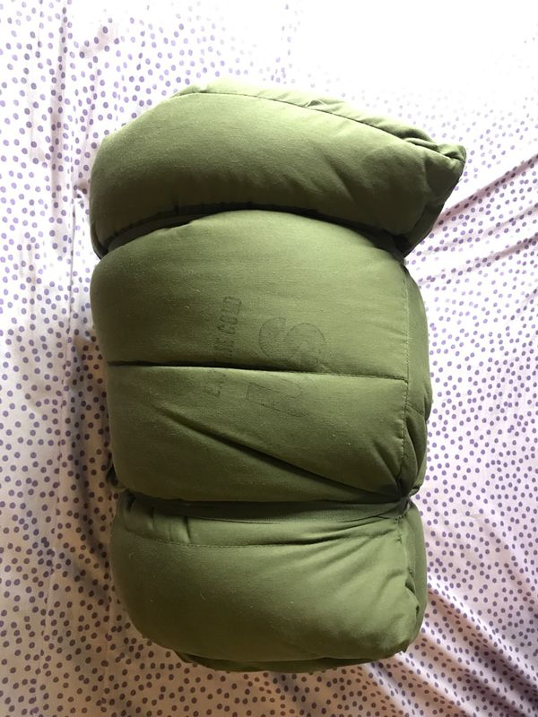 Military sleeping bag. 7ft long. Zip and button up with hood. Cotton and down.