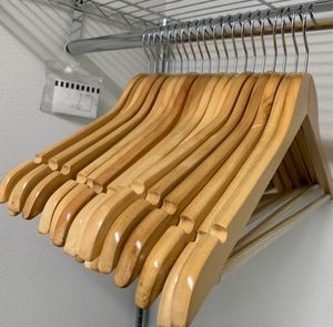 New in box 20 Pack Premium Wooden Hangers Natural Finish Glossy Shine Utopia Home Hangers for Sale in Whittier, CA