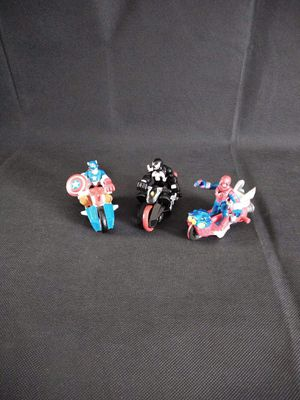 Playskool heros, Spiderman, Captain America, and Venom with motorcycles for Sale in Norman, OK