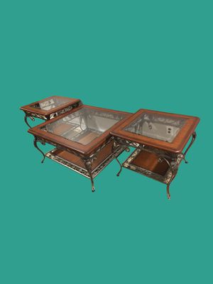 Glass Top Coffee Table Set - 3 pc for Sale in Revere, MA