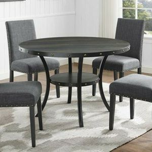 Brand New 5pc Charcoal Grey Linen Dinning Set With A Nail Head Trim for Sale in Orting, WA
