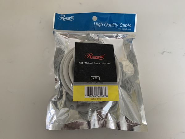 Rosewill gray Cat 7 Ethernet network cable 7 ft, BRAND NEW SEALED. Great for computers, networking, cable or DSL modem, wireless routers!
