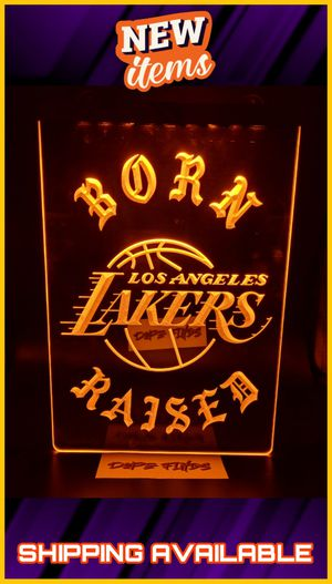"""🏆🏆🏀NEW 3D BORN×RAISED LAKERS (+more) LED SIGN🏀 SUPER BRIGHT 12"""" ×8"""" NEON LIKE SIGN. PLAQUE. WALL ART 🏀 MAN CAVE. BAR. GARAGE. GYM🏀🏆🏆 for Sale in Ontario, CA"""