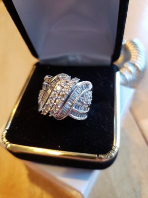 Vintage solid silver simulated diamond s.. old ring for Sale in Meriden, CT