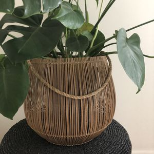 Bamboo Basket-Can Be Used For Plants / Candle for Sale in Portland, OR