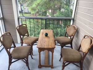 Wooden Table ($15) Four Wooden Chairs ($50) Wooden Table AND Wooden Chairs Altogether is $60 for Sale in Kissimmee, FL
