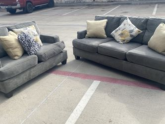 (Will Deliver) Grayish Sofa + Loveseat for Sale in Euless,  TX