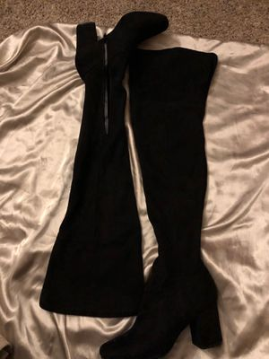 Thigh High Black Boots Faux Suede Material for Sale in Benicia, CA