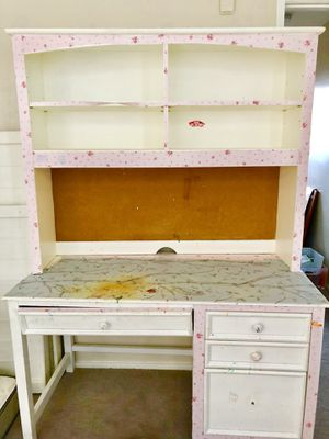 White desk with four drawers and bookshelf for Sale in San Diego, CA