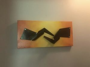 Metal wall unique art orange modern painting sculpture for Sale in Oakton, VA