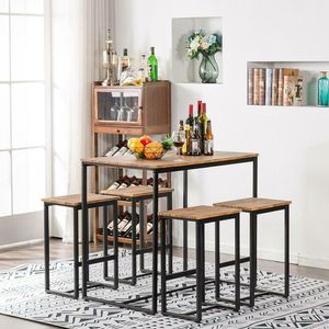 5 Piece Metal Dining Table Set 4 Chair Kitchen Dining Room Furniture Wood Modern Chic Food Meal for Sale in Rosemead, CA
