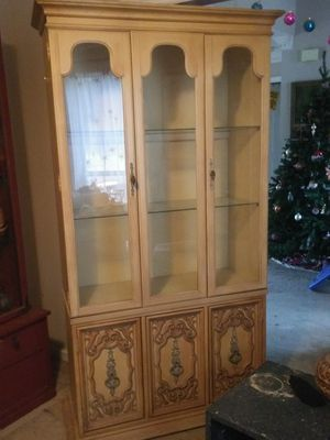 1960's China Hutch, solid wood, glass shelving, storage area in bottom. for Sale in Nashville, TN