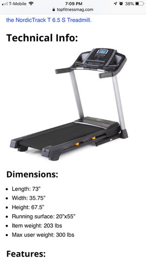 Treadmill Nordictrack T 6.5 S (Like new) for Sale in Hialeah, FL